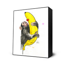 "Load image into Gallery viewer, ""Banana Love"" by Lora Zombie - Framed Art Block"