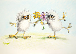"""FLOWER FIGHTING FIFFLES"" by artist Gadget - PAPER & CANVAS AVAILABLE"