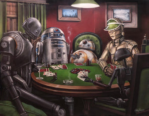 """Poker Droids"" Gallery Wrapped Canvas by Ashley Raine: 4 Sizes to Choose From"