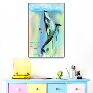 """WHALELALA"" by Lora Zombie - Framed Art Block"