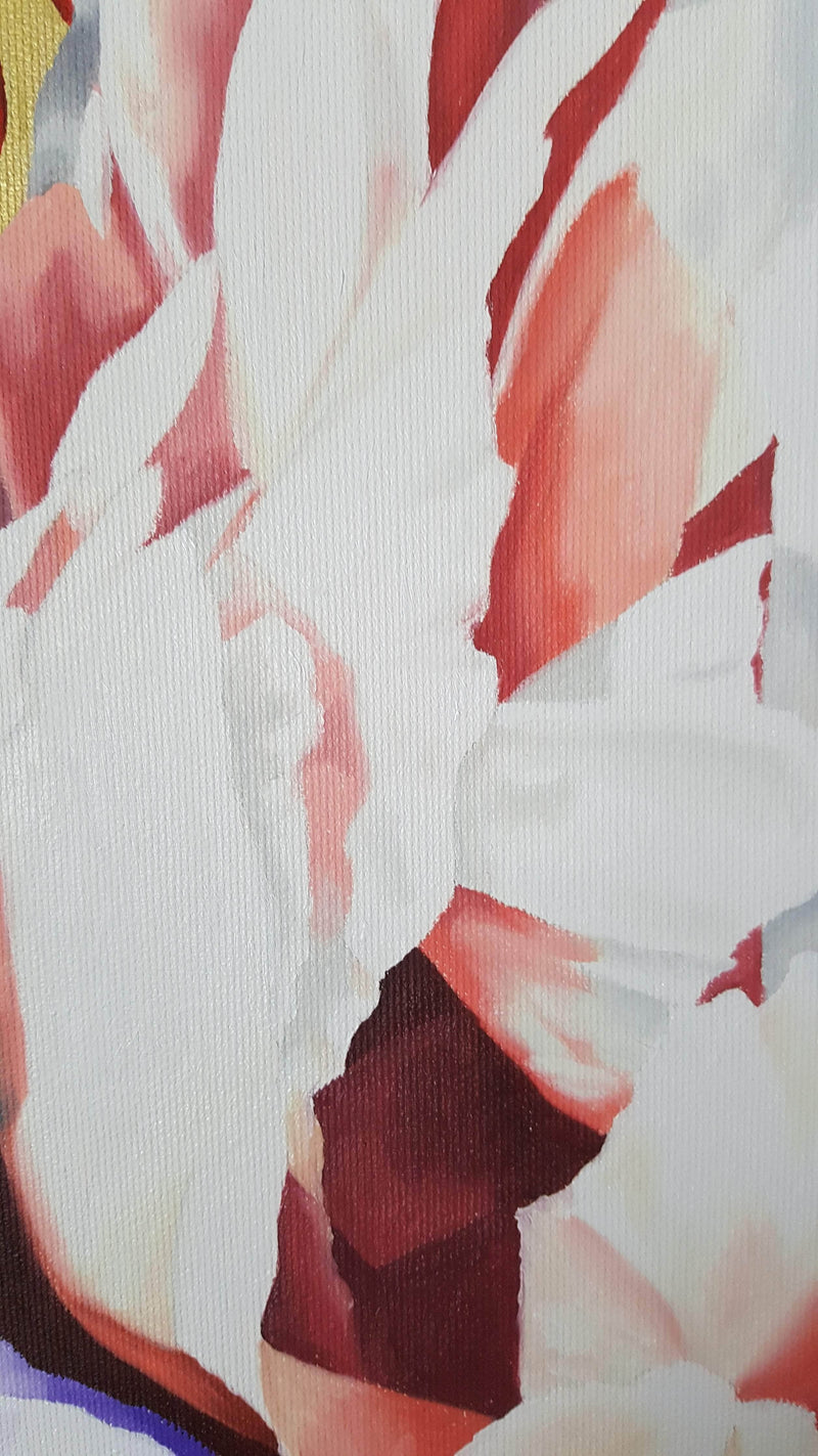 PEONIES WITH GOLD AND RED BACKGROUND - Art Sleuth
