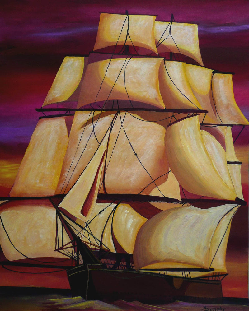 Full Sails at Sunset - Art Sleuth