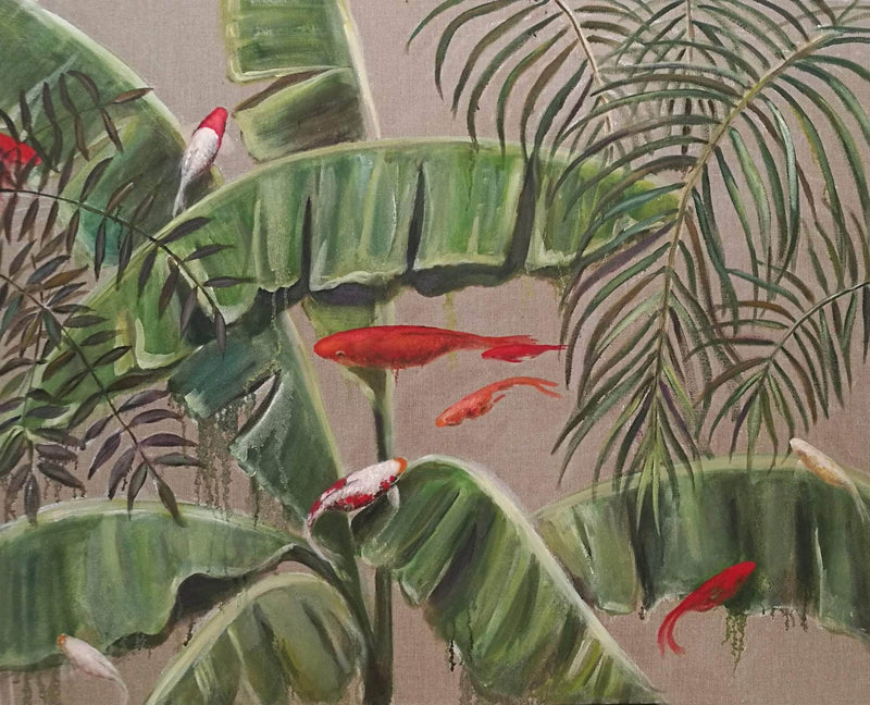 Goldfishes searching for banana leaves - Art Sleuth