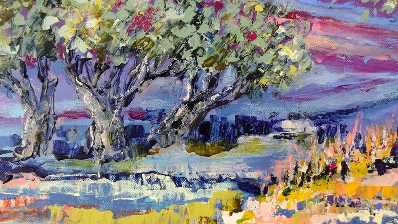 Blue valley with olive trees - Art Sleuth