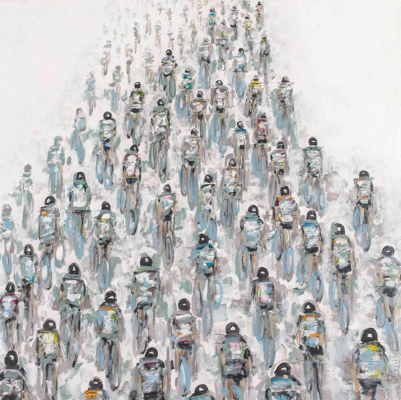 #415_Soft Colored Cyclists with Wheels - Art Sleuth