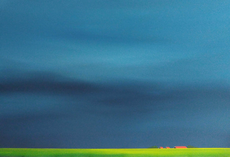 Red roofs, green fields. Polder after the rain. - Art Sleuth