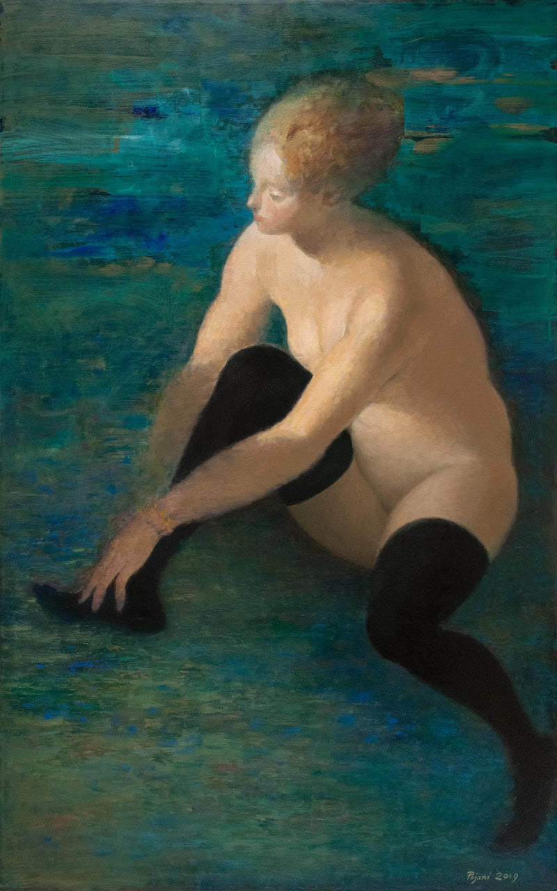 Young woman with black stockings - Art Sleuth