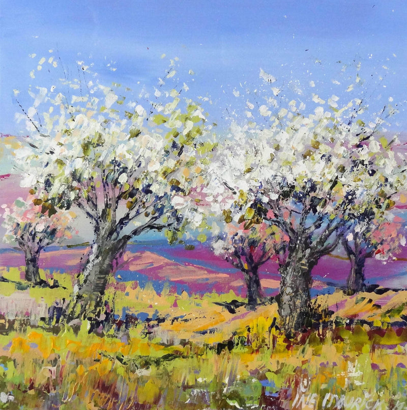 Apple trees in a yellow field (Framed) - Art Sleuth