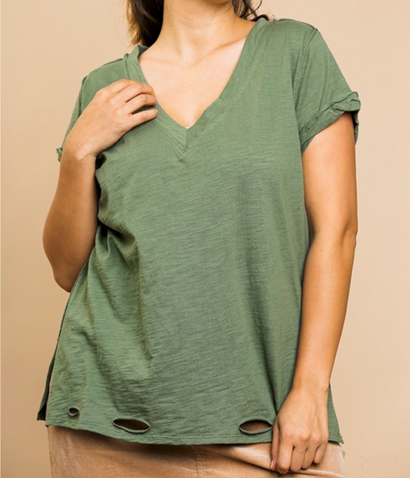 Distressed V-Neck Tee - HIDE & LACE