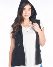 Load image into Gallery viewer, Hooded Utility Vest - Black - HIDE & LACE