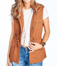 Load image into Gallery viewer, Hooded Utility Vest - Cinnamon - HIDE & LACE