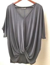 Load image into Gallery viewer, Short Sleeve V-Neck Top with Gathered Waist Detail - Ash