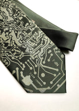 Load image into Gallery viewer, Circuit Board Print Necktie. Short Circuit Tie