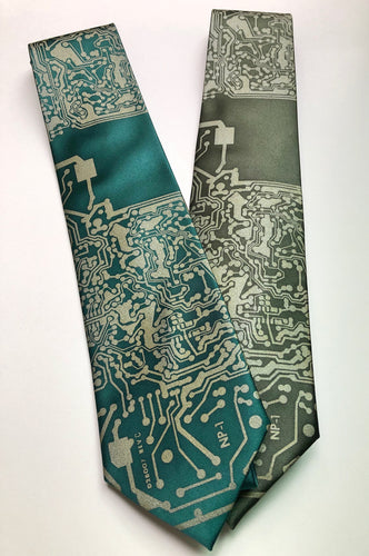 Circuit Board Print Necktie. Short Circuit Tie - HIDE & LACE