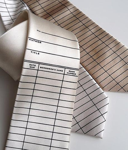 Library Due Date Card Necktie - HIDE & LACE