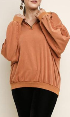 Umgee Pullover Bubble Sleeve Sweater in Terracotta