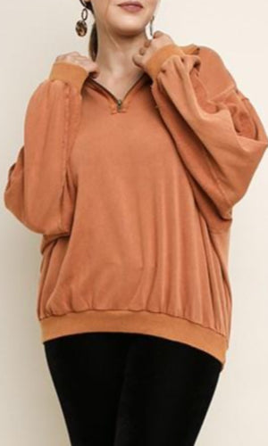 Partial Zip-Up Bubble Sleeves Pullover - Terracotta - HIDE & LACE