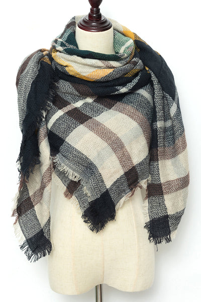 Beige, Black, and Maroon Plaid Blanket Scarf by Just Cozy. ?id=11829363212391