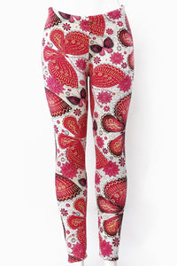 Pink Butterflies - Fur Lined Leggings