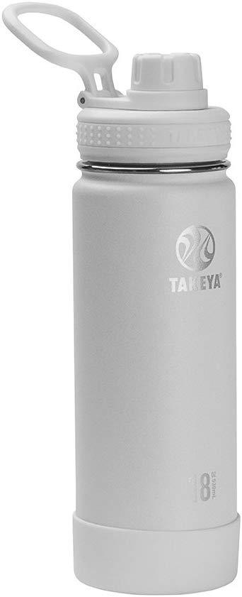 Takeya 51062 Actives Insulated Stainless Steel Water Bottle with Spout Lid, 18 oz, Arctic