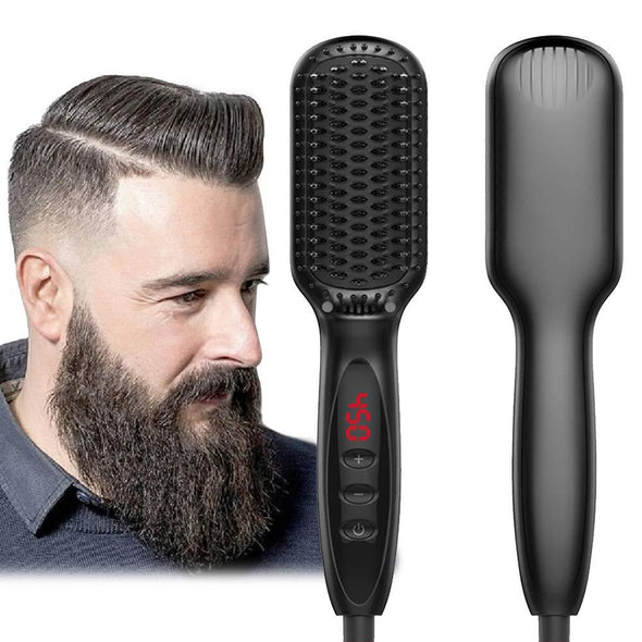 Beard Straightener, Beard Straightening Comb, Beard Straightener for Men, Electrical Heated Hair Straightening Brush with Faster Heating, PTC Ceramic Technology, Auto Temperature Lock, For Home Travel