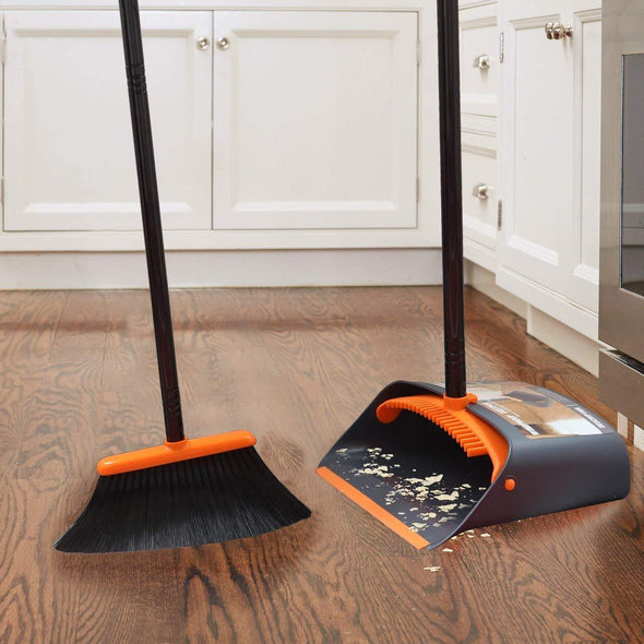 "Dust Pan and Broom/Dustpan Cleans Broom Combo with 52"" Long Handle for Home Kitchen Room Office Lobby Floor Use Upright Stand Up Broom and Dustpan Set"