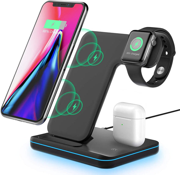 Wireless Charging Station, 3 in 1 Qi Fast Charger for Apple Watch 1 2 3 4 5/Airpods, Wireless Charger for iPhone 11/11 Pro/11 Pro Max/XS Max/XS XR Plus Samsung S10 S9 S8 S7 and Qi-Certified Phones