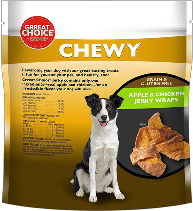 Grreat Choice Chewy Grain & Gluten Free & Apple & Chicken Jerky Wraps