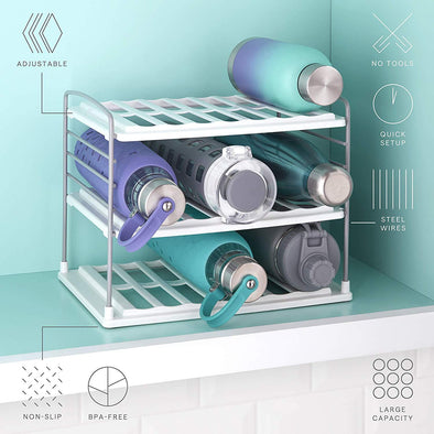 YouCopia 50243 UpSpace Water Bottle Organizer, 3 Shelf, White