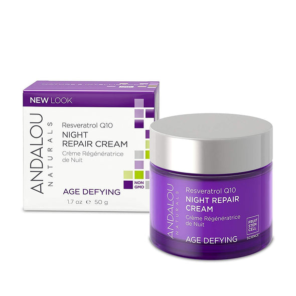 Andalou Naturals Resveratrol Q10 Night Repair Cream, 1.7 oz, For Dry Skin, Fine Lines & Wrinkles, For Softer, Smoother, Younger Looking Skin