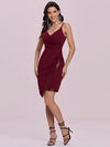 Asymmetric Hem Bodycon V-Neck Spaghetti Straps Evening Dress-Burgundy 4