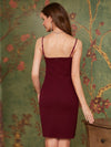 Asymmetric Hem Bodycon V-Neck Spaghetti Straps Evening Dress-Burgundy 2
