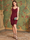Asymmetric Hem Bodycon V-Neck Spaghetti Straps Evening Dress-Burgundy 3