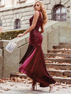 Sexy High-Low Pailletten & Samt Abendkleid Für Frauen Für Cocktail 00482-Burgundy 2