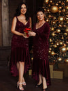 Sexy High-Low Pailletten & Samt Abendkleid Für Frauen Für Cocktail 00482-Burgundy 12