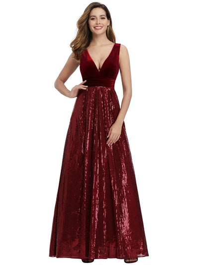 Ever Pretty Frauen V-Ausschnitt Pailletten Patchwork Abend Party Maxi Kleid 00808