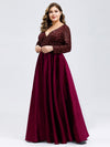 Plus Size V-Ausschnitt Pailletten Kleid Patchwork Abendkleid 00817-Burgundy 3