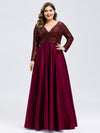 Plus Size V-Ausschnitt Pailletten Kleid Patchwork Abendkleid 00817-Burgundy 4
