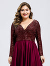 Plus Size V-Ausschnitt Pailletten Kleid Patchwork Abendkleid 00817-Burgundy 6