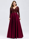 Plus Size V-Ausschnitt Pailletten Kleid Patchwork Abendkleid 00817-Burgundy 1