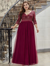 Plus Size Damen Mode V-Ausschnitt Bodenlanges Abendkleid-Burgundy 4