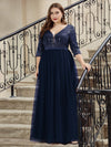Plus Size Damen Mode V-Ausschnitt Bodenlanges Abendkleid-Navy Blau 3