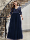 Plus Size Damen Mode V-Ausschnitt Bodenlanges Abendkleid-Navy Blau 1
