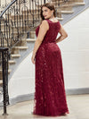 Plus Size Women'S V-Neck Embroidery Side Split Evening Party Maxi Dress-Burgundy 2