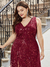 Plus Size Women'S V-Neck Embroidery Side Split Evening Party Maxi Dress-Burgundy 5