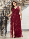 Plus Size Women'S V-Neck Embroidery Side Split Evening Party Maxi Dress-Burgundy 1