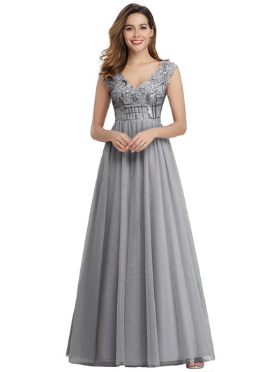 Ever Pretty Damen A-Linie Blumenapplikationen Hochzeitsgast Kleid 00984