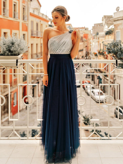 Long One Shoulder Tuell Partykleid