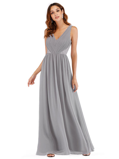 Ever Pretty Damen V-Ausschnitt geraffte Büste langes Abendkleid 07497