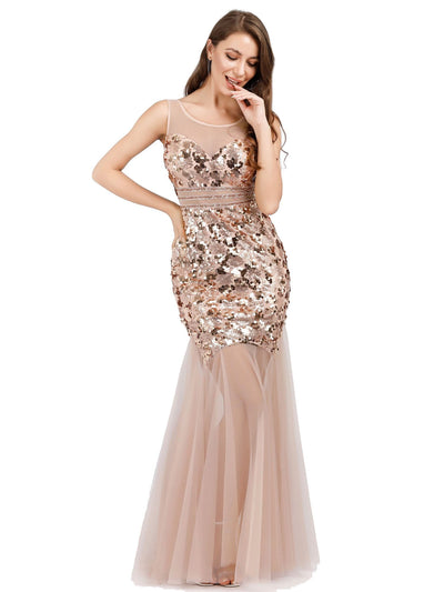 Ever Pretty Frauen Illusion Pailletten Meerjungfrau figurbetontes Kleid 07922
